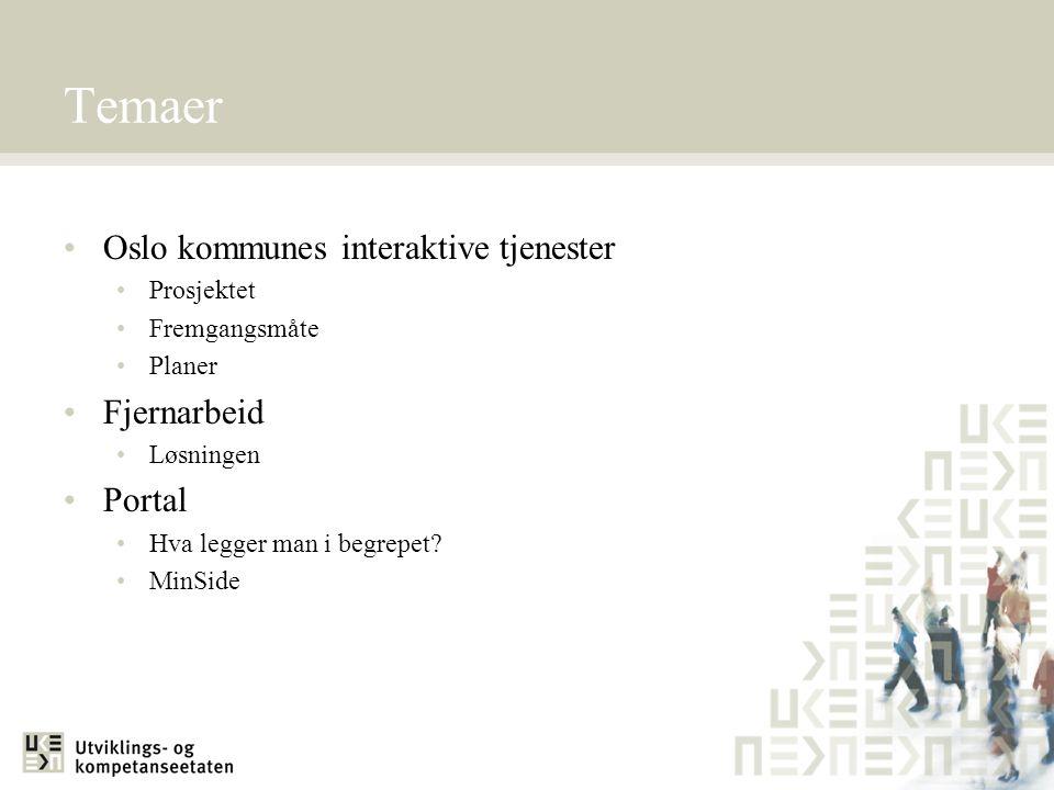Temaer Oslo kommunes interaktive tjenester Prosjektet Fremgangsmåte Planer Fjernarbeid Løsningen Portal Hva legger man i begrepet? MinSide