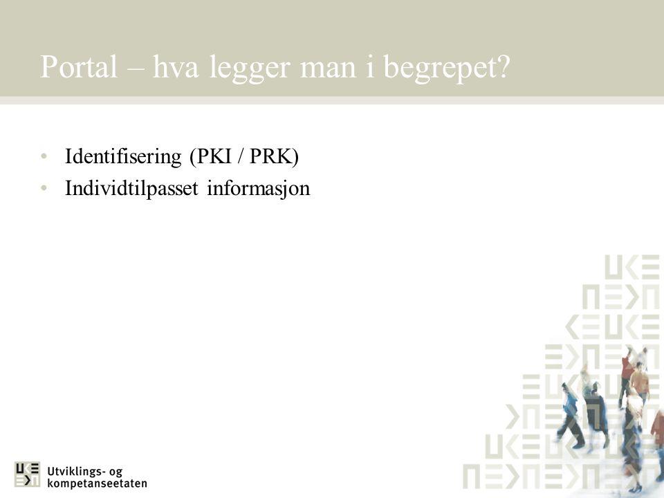 Portal – hva legger man i begrepet? Identifisering (PKI / PRK) Individtilpasset informasjon