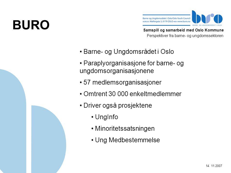Samspill og samarbeid med Oslo Kommune Perspektiver fra barne- og ungdomssektoren 14. 11.2007 BURO Barne- og Ungdomsrådet i Oslo Paraplyorganisasjone