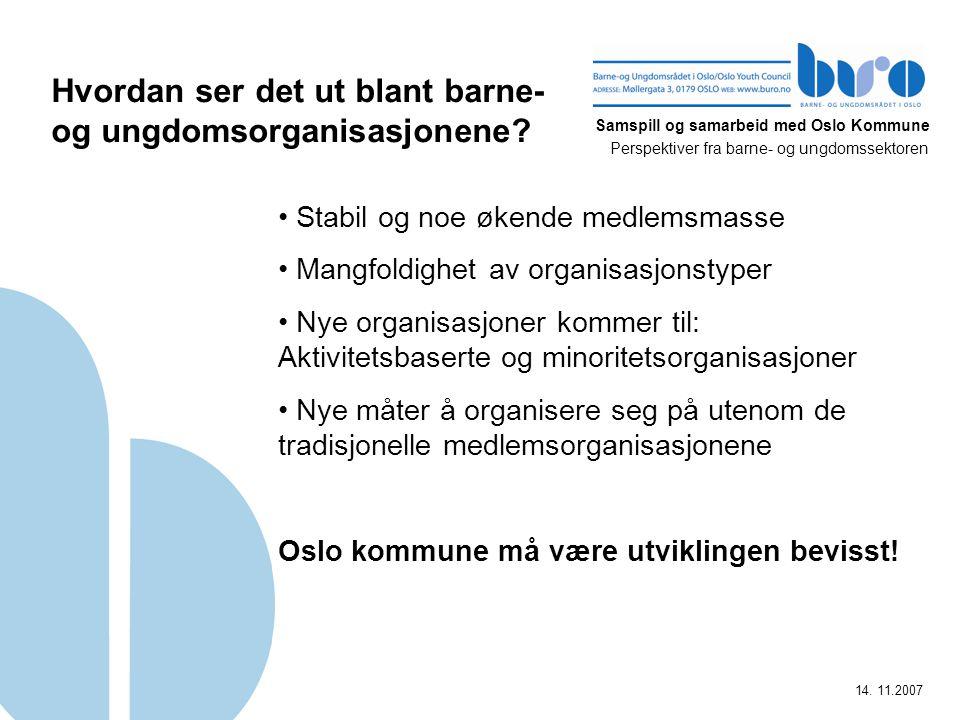 Samspill og samarbeid med Oslo Kommune Perspektiver fra barne- og ungdomssektoren 14. 11.2007 Hvordan ser det ut blant barne- og ungdomsorganisasjonen