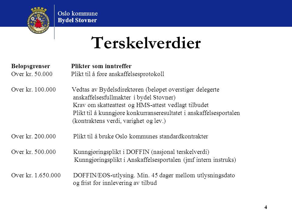 Oslo kommune Bydel Stovner 4 Terskelverdier Beløpsgrenser Plikter som inntreffer Over kr. 50.000 Plikt til å føre anskaffelsesprotokoll Over kr. 100.0
