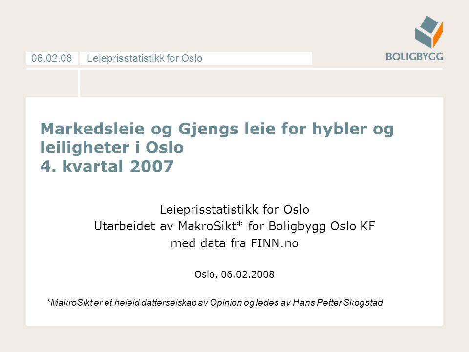 Leieprisstatistikk for Oslo06.02.08 Markedsleie og Gjengs leie for hybler og leiligheter i Oslo 4.