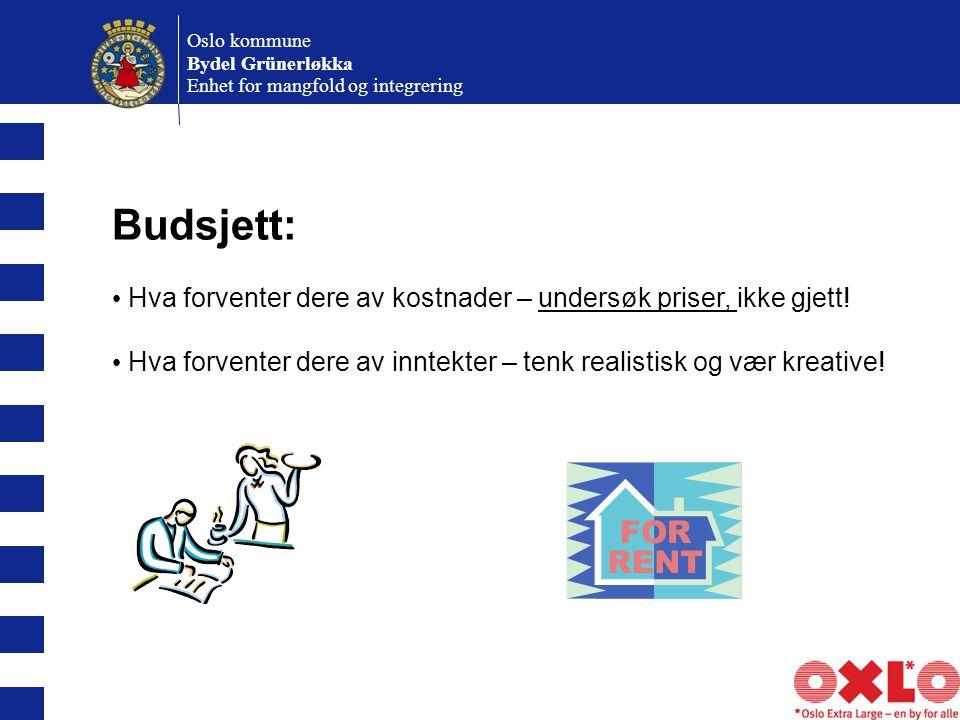 Oslo kommune Bydel Grünerløkka Enhet for mangfold og integrering Budsjett: Hva forventer dere av kostnader – undersøk priser, ikke gjett.