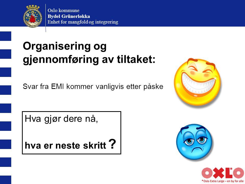 Oslo kommune Bydel Grünerløkka Enhet for mangfold og integrering Organisering og gjennomføring av tiltaket: Svar fra EMI kommer vanligvis etter påske Hva gjør dere nå, hva er neste skritt ?