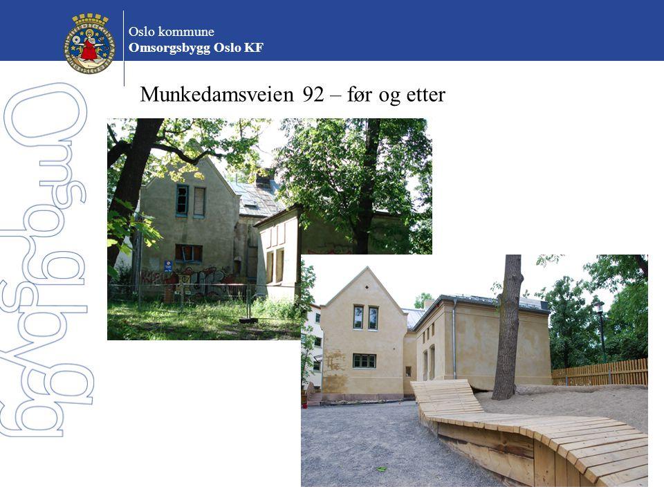 Oslo kommune Omsorgsbygg Oslo KF Munkedamsveien 92 – før og etter