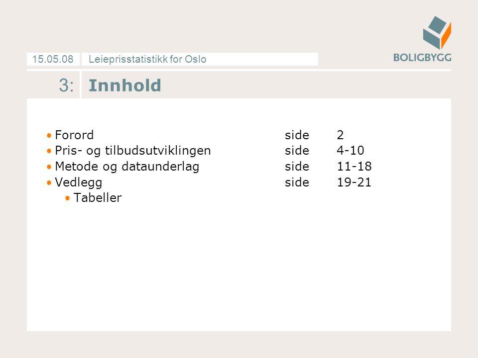 Leieprisstatistikk for Oslo15.05.08 3: Innhold Forordside 2 Pris- og tilbudsutviklingenside 4-10 Metode og dataunderlagside 11-18 Vedleggside 19-21 Ta