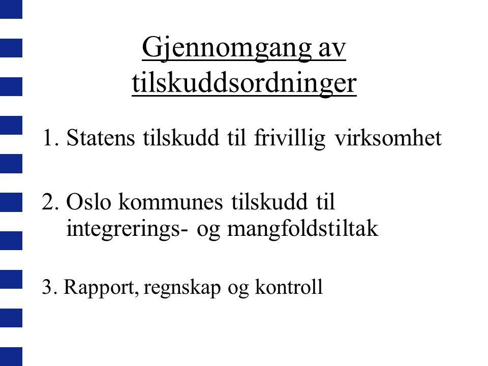 Gjennomgang av tilskuddsordninger 1.Statens tilskudd til frivillig virksomhet 2.Oslo kommunes tilskudd til integrerings- og mangfoldstiltak 3.