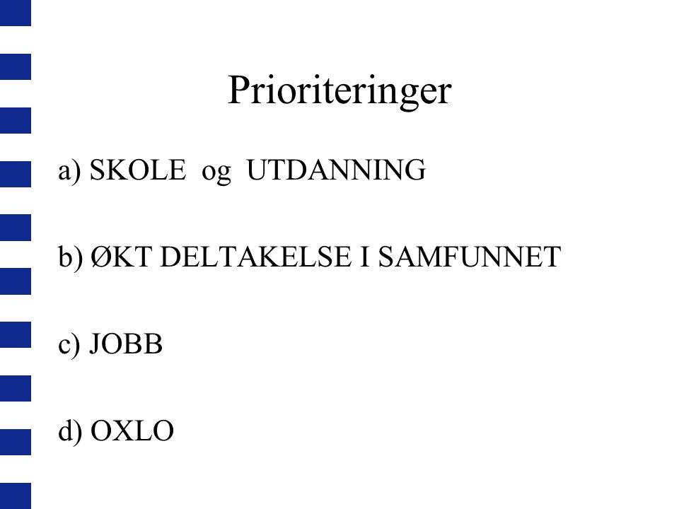 Prioriteringer a) SKOLE og UTDANNING b) ØKT DELTAKELSE I SAMFUNNET c) JOBB d) OXLO