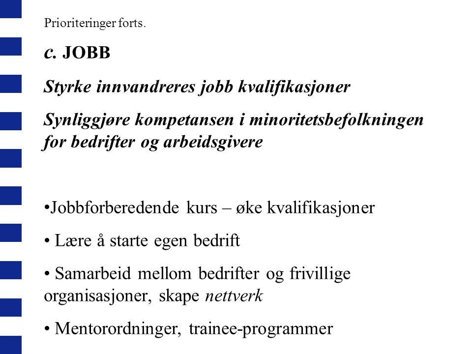 Prioriteringer forts. c. JOBB Styrke innvandreres jobb kvalifikasjoner Synliggjøre kompetansen i minoritetsbefolkningen for bedrifter og arbeidsgivere