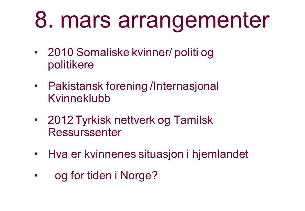 8. mars arrangementer 2010 Somaliske kvinner/ politi og politikere Pakistansk forening /Internasjonal Kvinneklubb 2012Tyrkisk nettverk og Tamilsk Ress