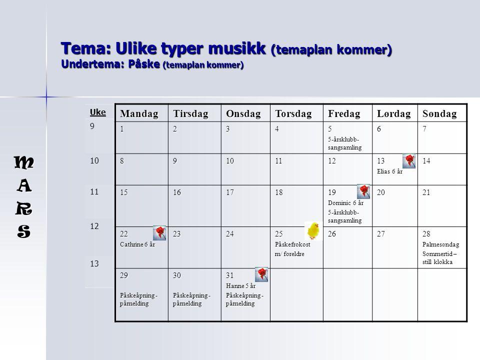 Tema: Ulike typer musikk (temaplan kommer) Undertema: Påske (temaplan kommer) MandagTirsdagOnsdagTorsdagFredagLørdagSøndag 12345 5-årsklubb- sangsamli