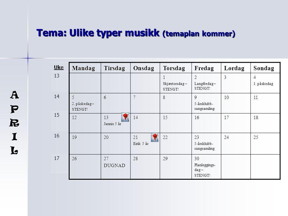 Tema: Ulike typer musikk (temaplan kommer) MandagTirsdagOnsdagTorsdagFredagLørdagSøndag 1 Skjærtorsdag – STENGT!2 Langfredag – STENGT.
