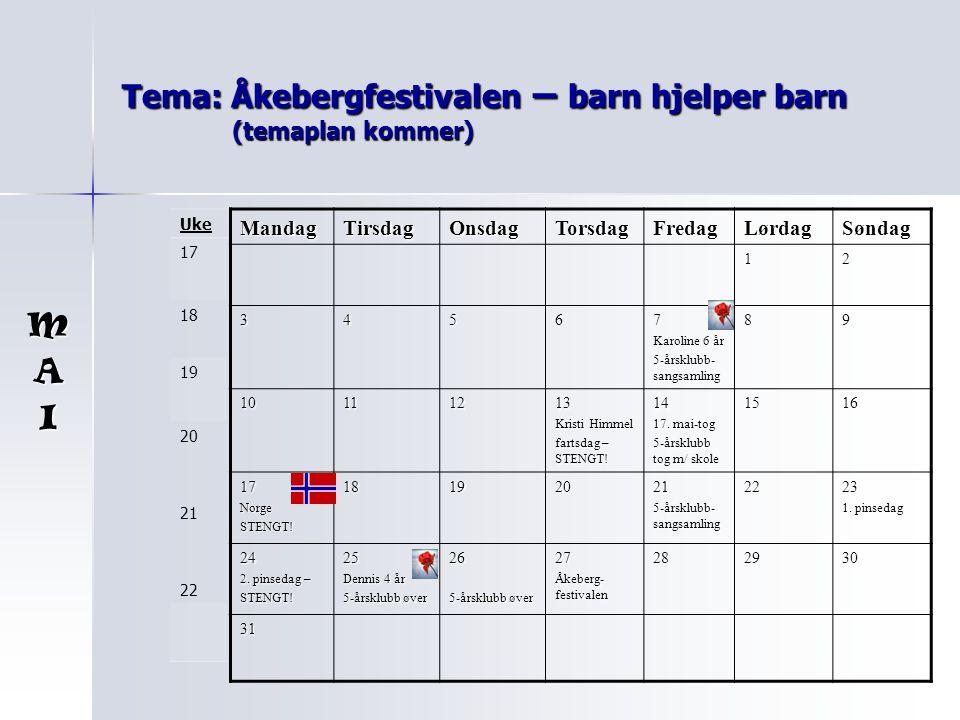 Tema: Åkebergfestivalen – barn hjelper barn (temaplan kommer) MandagTirsdagOnsdagTorsdagFredagLørdagSøndag 12 34567 Karoline 6 år 5-årsklubb- sangsamling 89 10111213 Kristi Himmel fartsdag – STENGT.