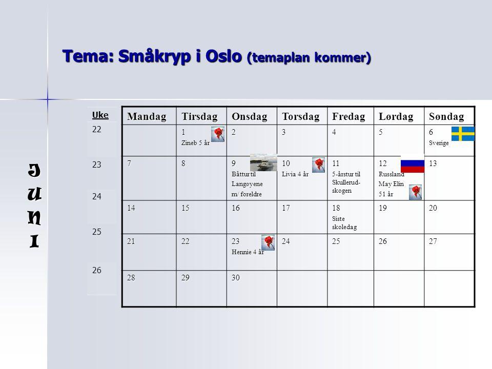 Tema: Småkryp i Oslo (temaplan kommer) MandagTirsdagOnsdagTorsdagFredagLørdagSøndag 1 Zineb 5 år 23456Sverige 789 Båttur til Langøyene m/ foreldre 10