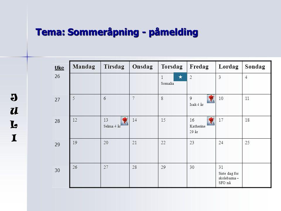 Tema: Sommeråpning - påmelding MandagTirsdagOnsdagTorsdagFredagLørdagSøndag 1Somalia234 56789 Isak 4 år 1011 1213 Selma 4 år 141516Katherine 29 år 171