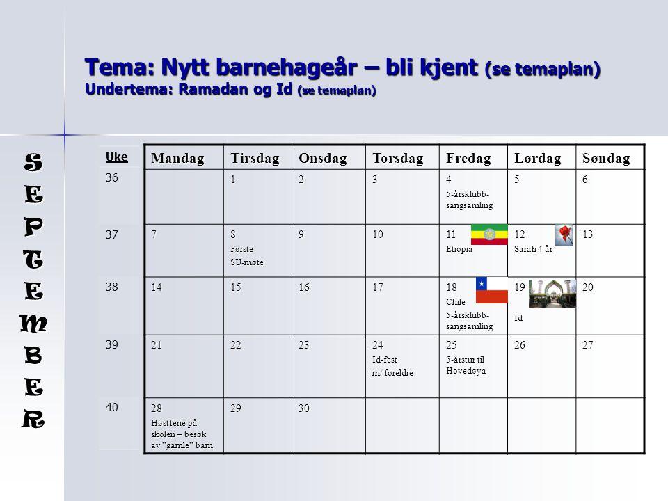 Tema: Nytt barnehageår – bli kjent (se temaplan) Undertema: Ramadan og Id (se temaplan) MandagTirsdagOnsdagTorsdagFredagLørdagSøndag 1234 5-årsklubb- sangsamling 56 78FørsteSU-møte91011Etiopia12 Sarah 4 år 13 1415161718Chile 5-årsklubb- sangsamling 19Id20 21222324Id-fest m/ foreldre 25 5-årstur til Hovedøya 2627 28 Høstferie på skolen – besøk av gamle barn 2930 SEPTEMBER Uke 36 37 38 39 40
