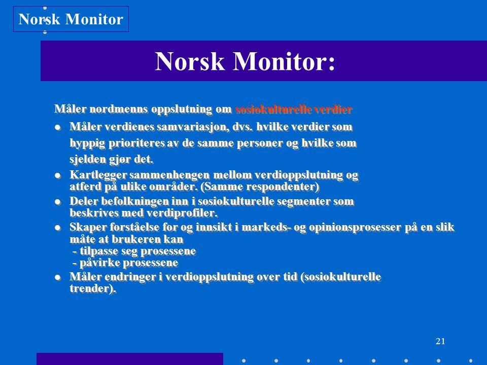 21 Norsk Monitor: Måler nordmenns oppslutning om sosiokulturelle verdier Måler verdienes samvariasjon, dvs. hvilke verdier som hyppig prioriteres av d
