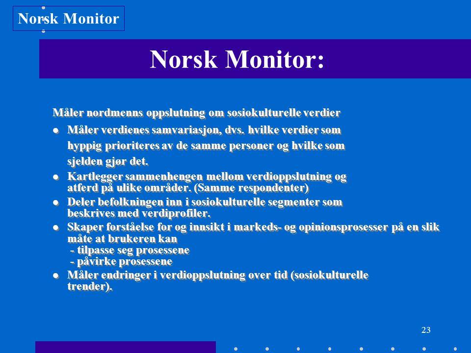 23 Norsk Monitor: Måler nordmenns oppslutning om sosiokulturelle verdier Måler verdienes samvariasjon, dvs. hvilke verdier som hyppig prioriteres av d