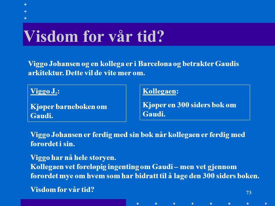73 Visdom for vår tid? Viggo J.: Kjøper barneboken om Gaudi. Kollegaen: Kjøper en 300 siders bok om Gaudi. Viggo Johansen og en kollega er i Barcelona