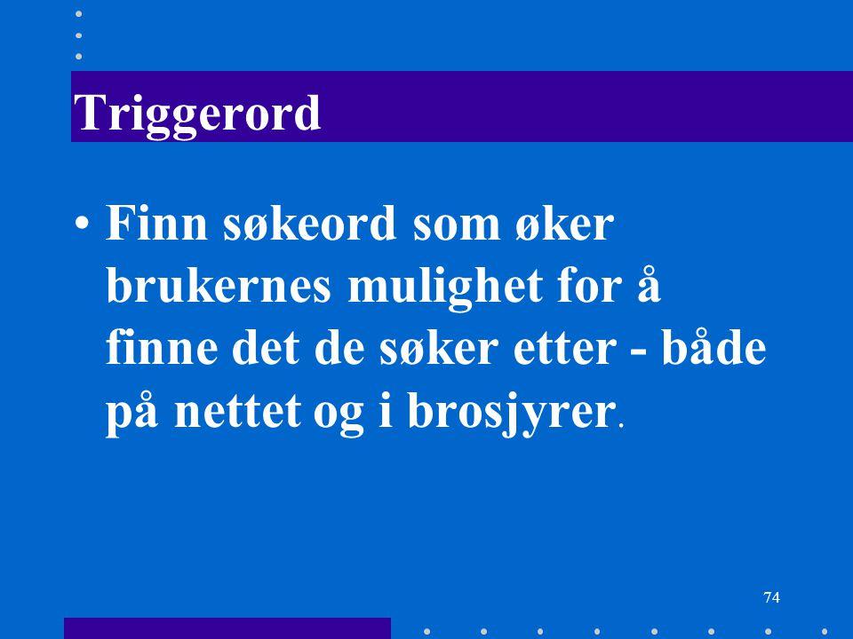 74 Triggerord Finn søkeord som øker brukernes mulighet for å finne det de søker etter - både på nettet og i brosjyrer.