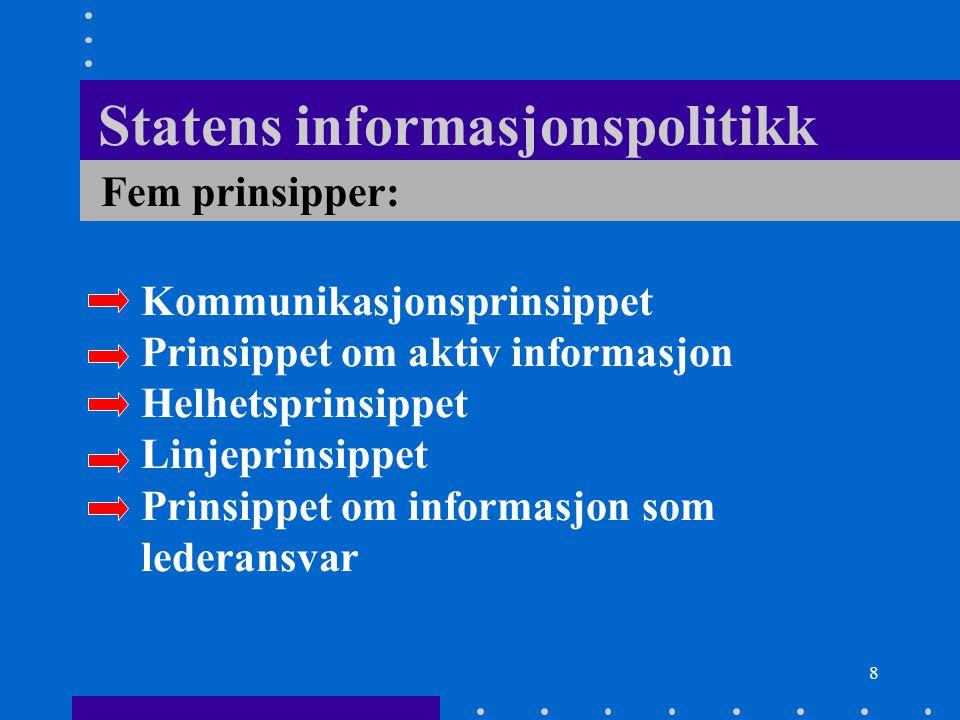 8 Statens informasjonspolitikk Kommunikasjonsprinsippet Prinsippet om aktiv informasjon Helhetsprinsippet Linjeprinsippet Prinsippet om informasjon so
