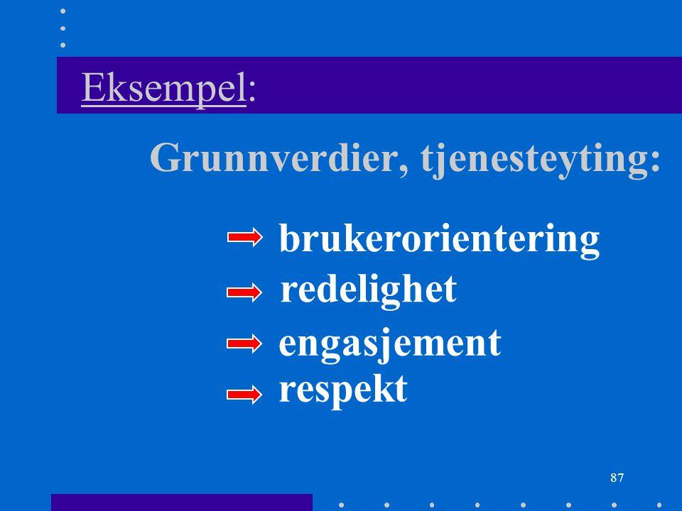 87 Eksempel: Grunnverdier, tjenesteyting: redelighet respekt engasjement brukerorientering