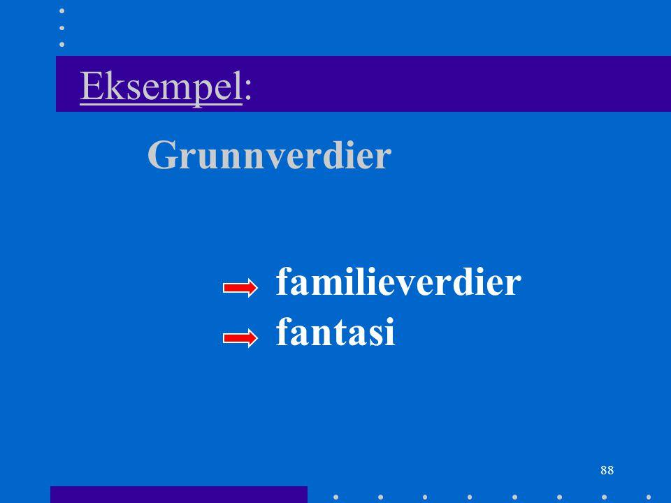 88 Eksempel: Grunnverdier familieverdier fantasi