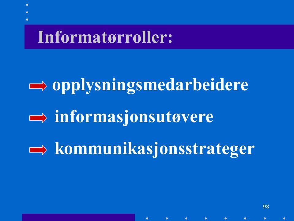 98 Informatørroller: opplysningsmedarbeidere informasjonsutøvere kommunikasjonsstrateger