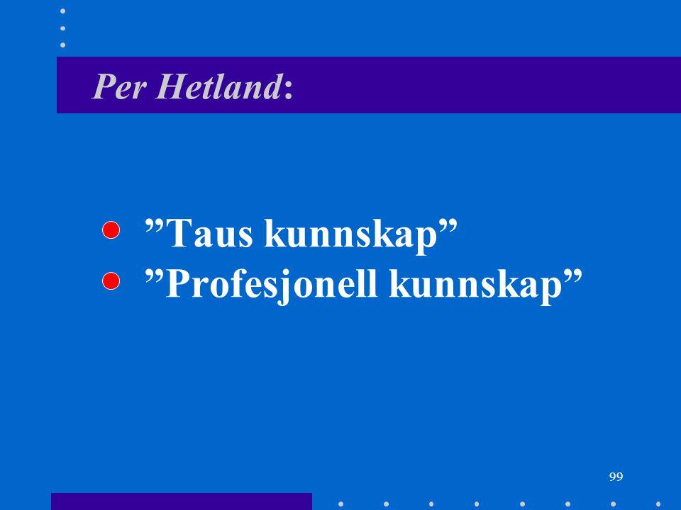 "99 Per Hetland: ""Taus kunnskap"" ""Profesjonell kunnskap"""
