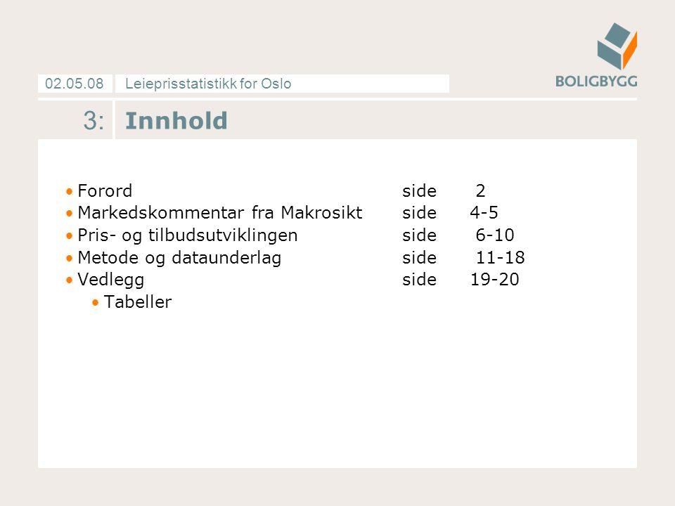 Leieprisstatistikk for Oslo02.05.08 3: Innhold Forordside 2 Markedskommentar fra Makrosiktside4-5 Pris- og tilbudsutviklingenside 6-10 Metode og dataunderlagside 11-18 Vedleggside19-20 Tabeller