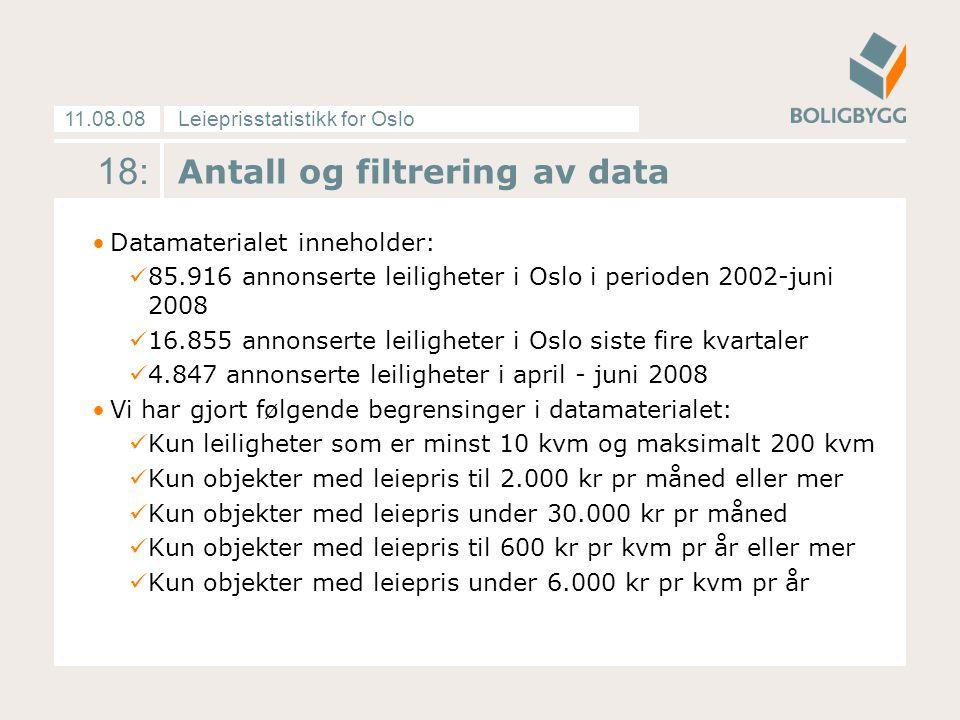 Leieprisstatistikk for Oslo11.08.08 18: Antall og filtrering av data Datamaterialet inneholder: 85.916 annonserte leiligheter i Oslo i perioden 2002-juni 2008 16.855 annonserte leiligheter i Oslo siste fire kvartaler 4.847 annonserte leiligheter i april - juni 2008 Vi har gjort følgende begrensinger i datamaterialet: Kun leiligheter som er minst 10 kvm og maksimalt 200 kvm Kun objekter med leiepris til 2.000 kr pr måned eller mer Kun objekter med leiepris under 30.000 kr pr måned Kun objekter med leiepris til 600 kr pr kvm pr år eller mer Kun objekter med leiepris under 6.000 kr pr kvm pr år