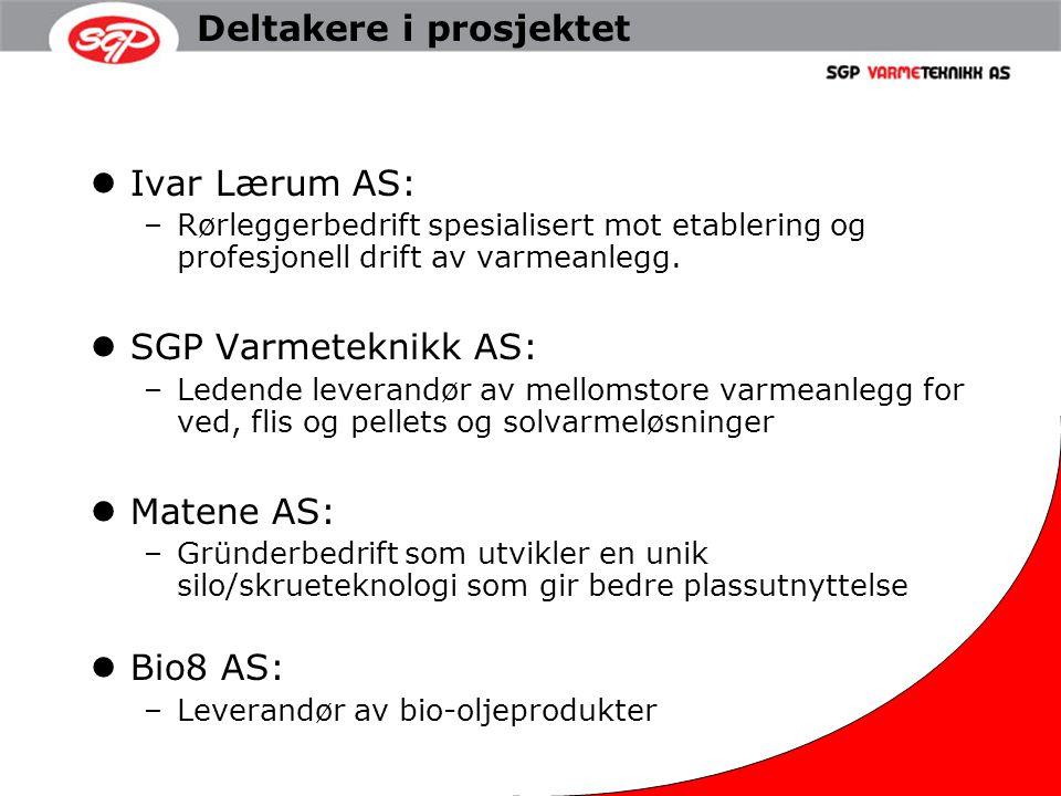 Deltakere i prosjektet Ivar Lærum AS: –Rørleggerbedrift spesialisert mot etablering og profesjonell drift av varmeanlegg. SGP Varmeteknikk AS: –Ledend