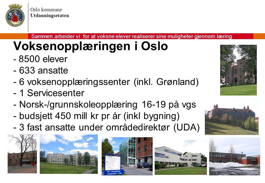 Oslo kommune Utdanningsetaten Voksenopplæringen i Oslo - 8500 elever - 633 ansatte - 6 voksenopplæringssenter (inkl. Grønland) - 1 Servicesenter - Nor