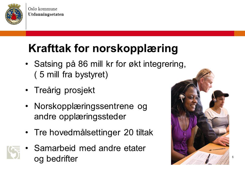 Oslo kommune Utdanningsetaten 6 Krafttak for norskopplæring Satsing på 86 mill kr for økt integrering, ( 5 mill fra bystyret) Treårig prosjekt Norskop