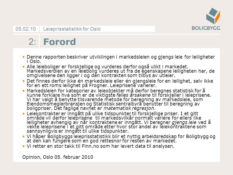 Leieprisstatistikk for Oslo05.02.10 2: Forord Denne rapporten beskriver utviklingen i markedsleien og gjengs leie for leiligheter i Oslo. Alle leiebol