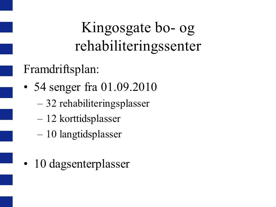Kingosgate bo- og rehabiliteringssenter Framdriftsplan: 54 senger fra 01.09.2010 –32 rehabiliteringsplasser –12 korttidsplasser –10 langtidsplasser 10