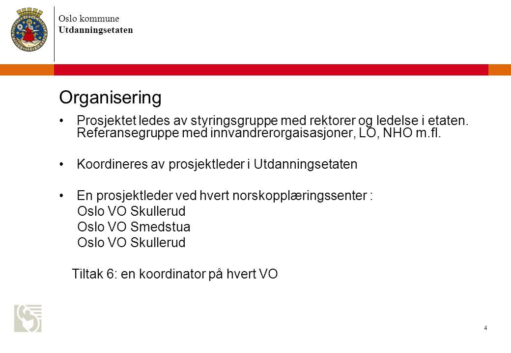 Oslo kommune Utdanningsetaten 4 Organisering Prosjektet ledes av styringsgruppe med rektorer og ledelse i etaten.