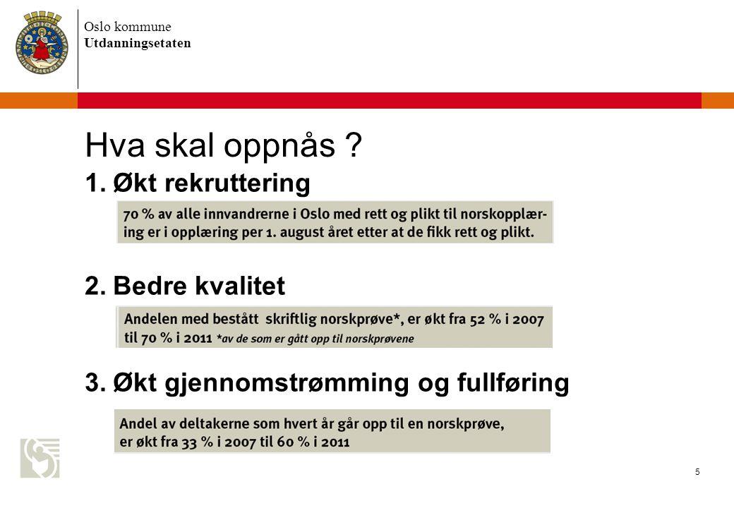 Oslo kommune Utdanningsetaten 5 Hva skal oppnås .