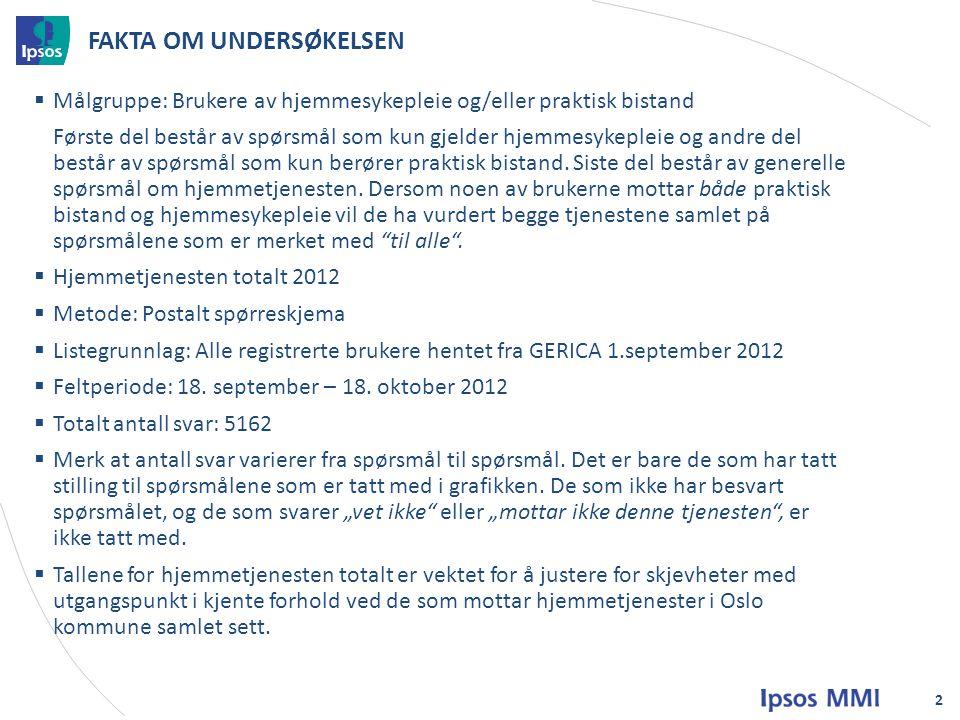 Generelt om hjemmesykepleien - besvart av alle mottakere av hjemmesykepleie 3
