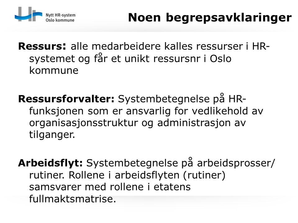 Ressurs : alle medarbeidere kalles ressurser i HR- systemet og får et unikt ressursnr i Oslo kommune Ressursforvalter: Systembetegnelse på HR- funksjo