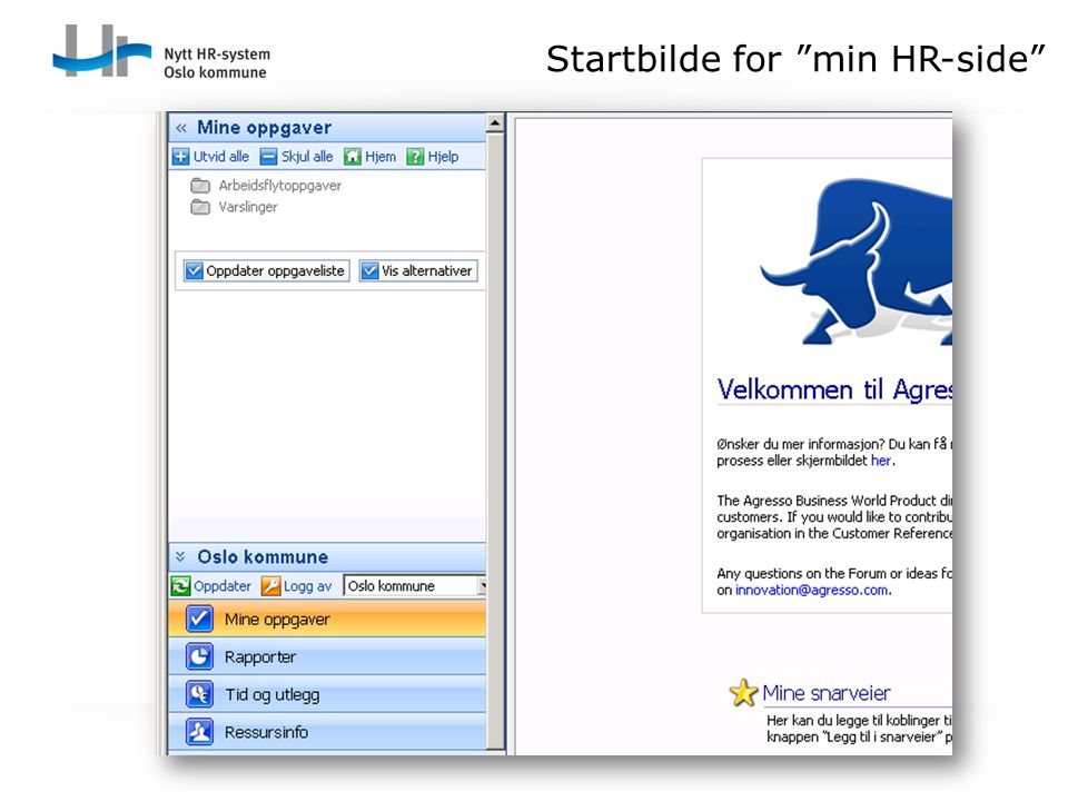 """Startbilde for """"min HR-side"""""""