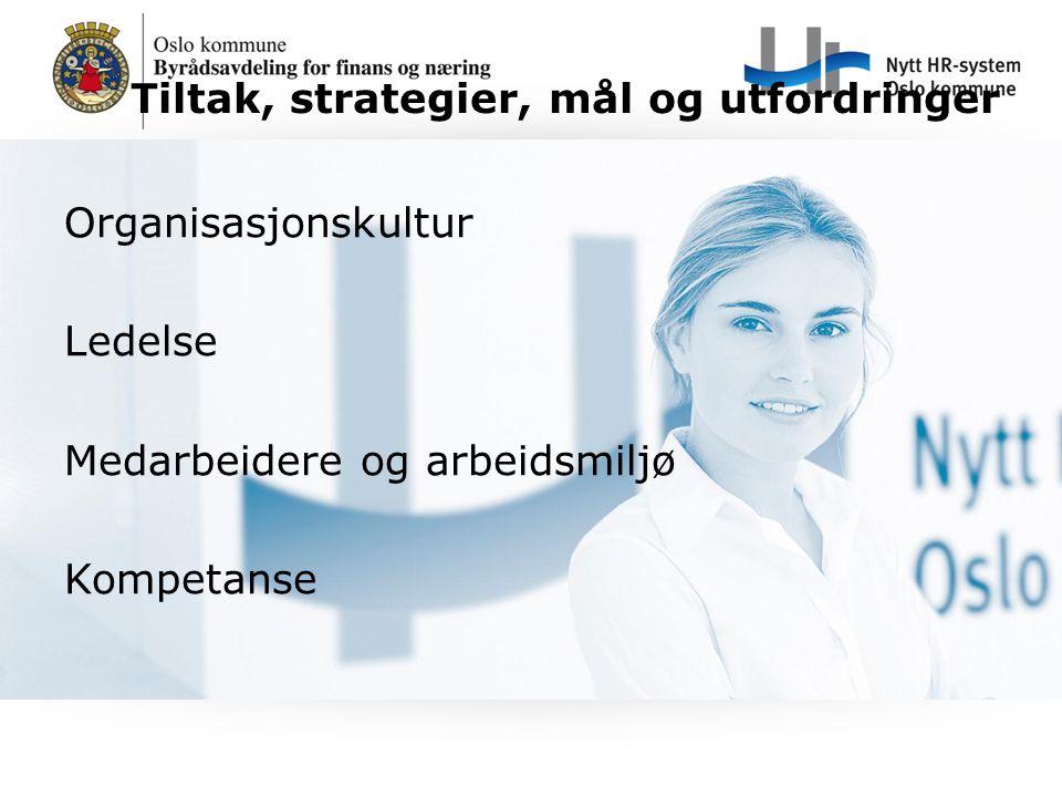 Tiltak, strategier, mål og utfordringer Organisasjonskultur Ledelse Medarbeidere og arbeidsmiljø Kompetanse
