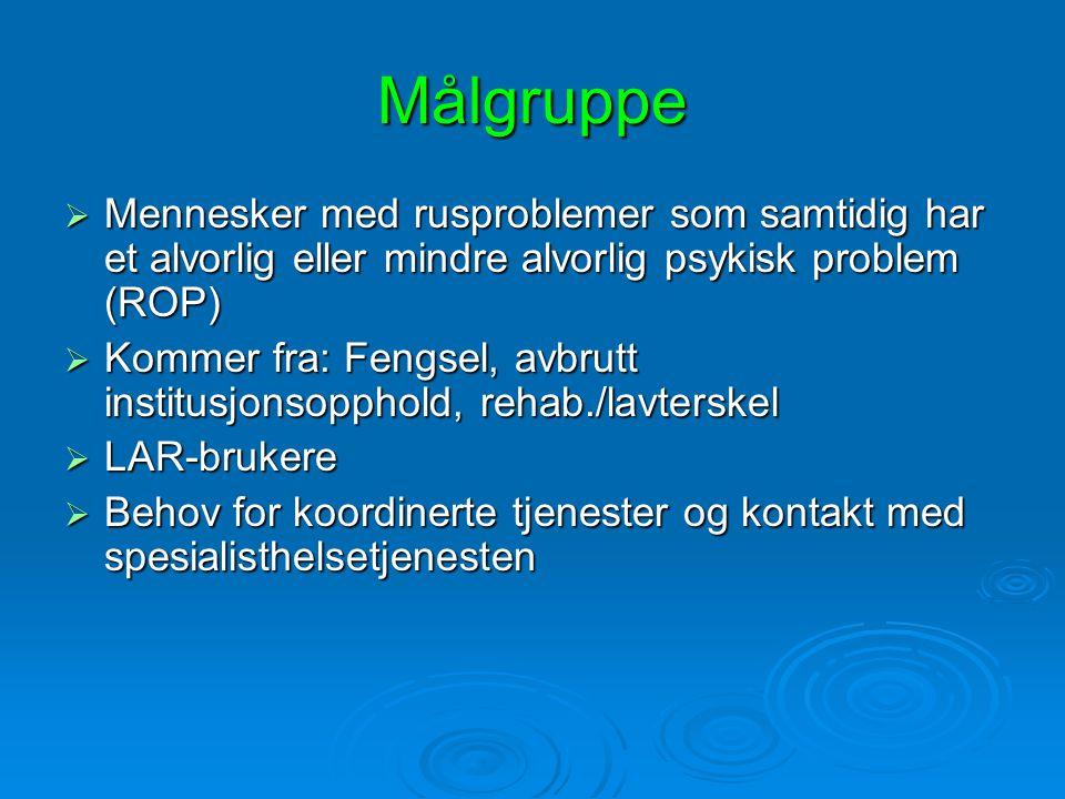 Målgruppe  Mennesker med rusproblemer som samtidig har et alvorlig eller mindre alvorlig psykisk problem (ROP)  Kommer fra: Fengsel, avbrutt institu