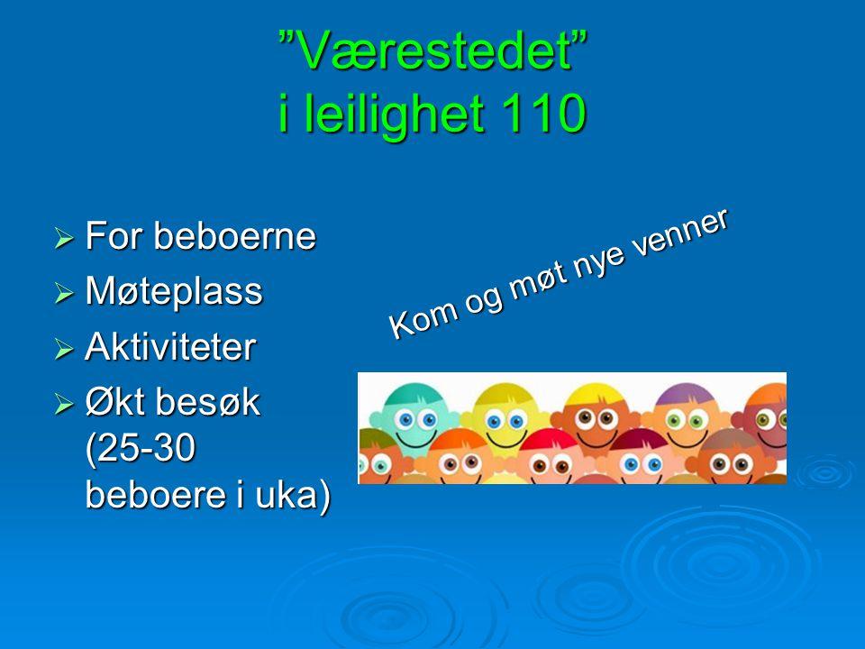 """""""Værestedet"""" i leilighet 110  For beboerne  Møteplass  Aktiviteter  Økt besøk (25-30 beboere i uka) Kom og møt nye venner"""