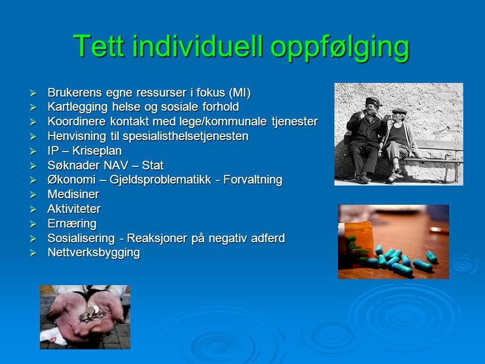 Tett individuell oppfølging  Brukerens egne ressurser i fokus (MI)  Kartlegging helse og sosiale forhold  Koordinere kontakt med lege/kommunale tje