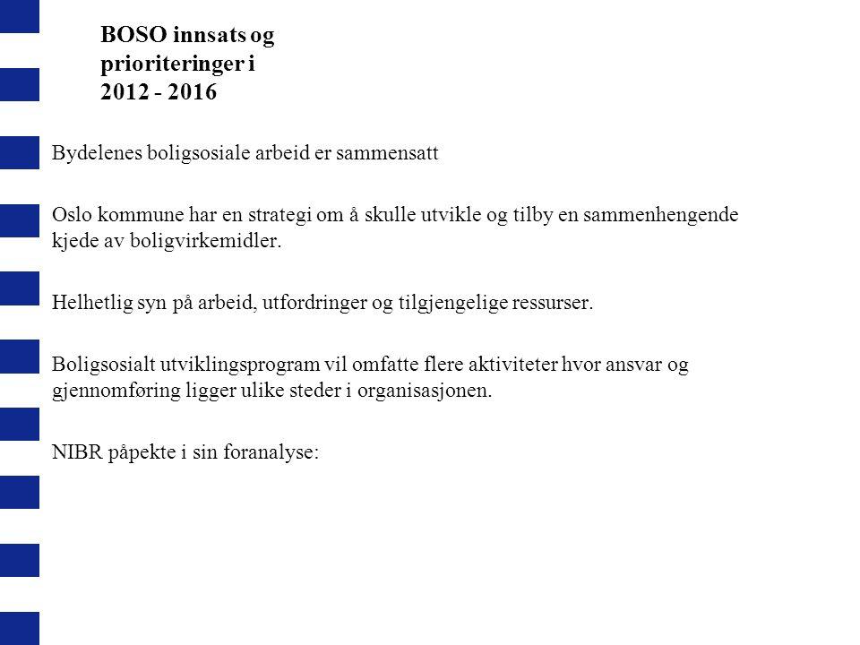 BOSO innsats og prioriteringer i 2012 - 2016 Bydelenes boligsosiale arbeid er sammensatt Oslo kommune har en strategi om å skulle utvikle og tilby en