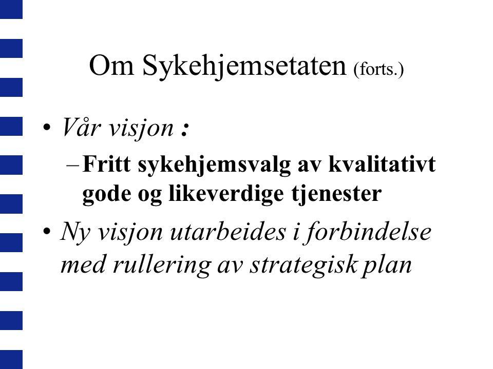 Om Sykehjemsetaten (forts.) Vår visjon : –Fritt sykehjemsvalg av kvalitativt gode og likeverdige tjenester Ny visjon utarbeides i forbindelse med rullering av strategisk plan