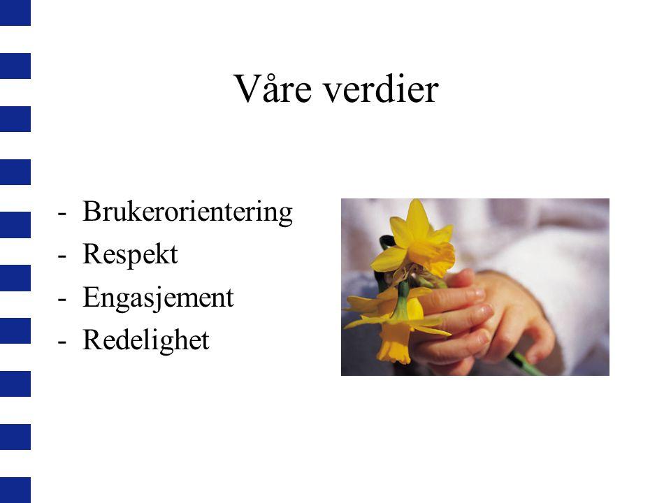 Våre verdier -Brukerorientering -Respekt -Engasjement -Redelighet