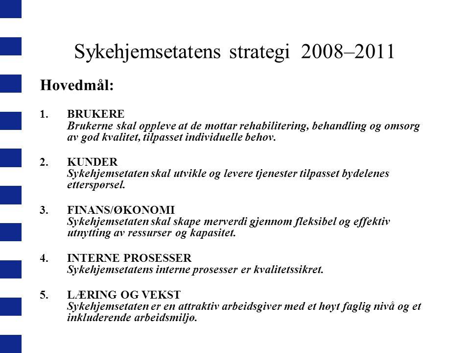 Sykehjemsetatens strategi 2008–2011 Hovedmål: 1.BRUKERE Brukerne skal oppleve at de mottar rehabilitering, behandling og omsorg av god kvalitet, tilpa