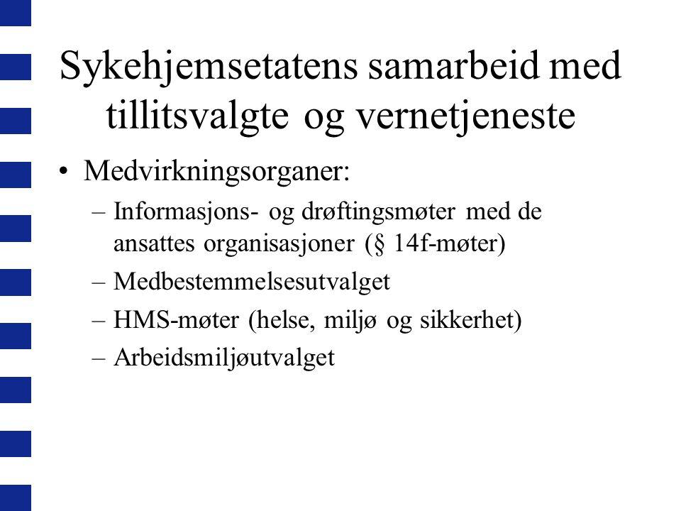 Sykehjemsetatens samarbeid med tillitsvalgte og vernetjeneste Medvirkningsorganer: –Informasjons- og drøftingsmøter med de ansattes organisasjoner (§